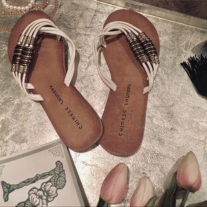 """Chinese Laundry"" White Criss Cross Sandals"